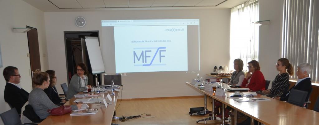 Benchmark-Sitzung mit Vertretern der beteiligten Unternehmen in den Räumlichkeiten von MFF-Mitglied Bayerische Versorgungskammer.
